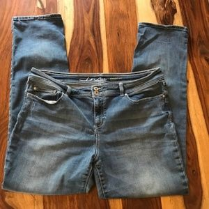 Inc Straight Leg Faded Wash Look Jeans